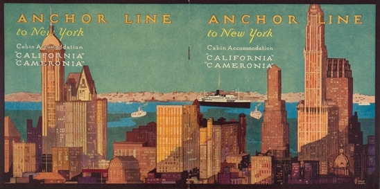 Brochure for sailings to New York on board the California  and Cameronia