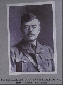 Photo inside Souvenir Booklet of the 6th Battalion Cameron Highlanders  of Lt. Col. A. F. Douglas-Hamilton, Battalion Commander. Lt. Col. Douglas-Hamilton was killed at the Battle of Loos in September 1915. He was posthumously awarded the Victoria Cross for his actions. (MS GEN 1376/7)