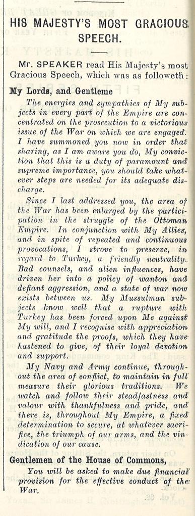 King's Speech, 11th November 1914