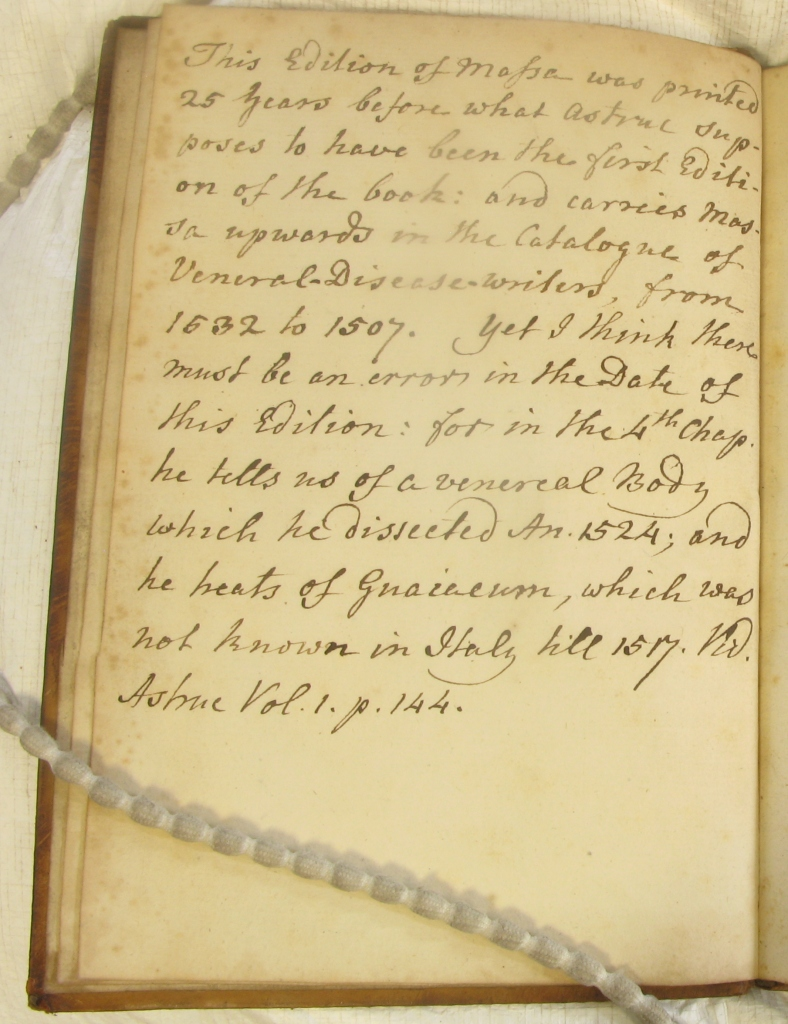 Note from Sp Coll Hunterian Ab.6.31 facing title page.