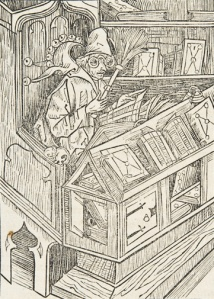 Books stored flat on lecterns and on their sides. Stultifera Navis (Sp Coll BD16-e.4)