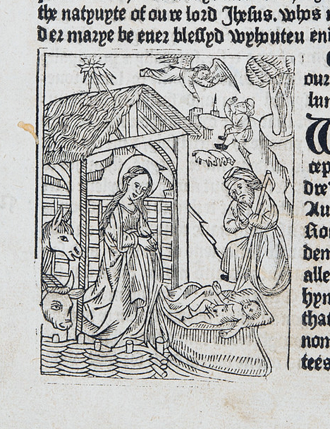 Nativity scene from Mirror of the Blessed Life of Jesus Christ (Sp Coll Hunterian Bv.2.24)