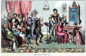 An 'amateur concert' satirically depicted life in the 1820s. 'Northern Looking Glass' November 28, 1825