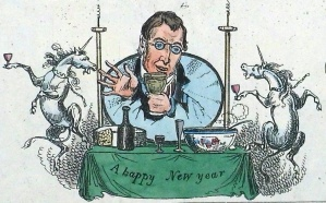 'Northern Looking Glass' illustrator, William Heath, wishes everyone Happy New Year  (Sp Coll Bh14-x.8)