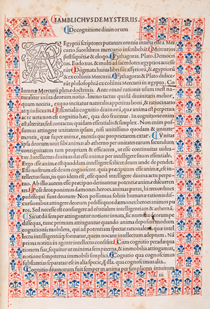 Opening page of a Jamblichus (Sp Coll Hunterian By.2.18)