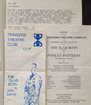 Slab Boys script and programmes from previous productions. (Special Collections reference: STA)