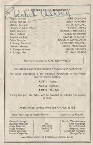 A streetcar named Desire. Alhambra Theatre, Glasgow, 1951. STA Fa 3/20