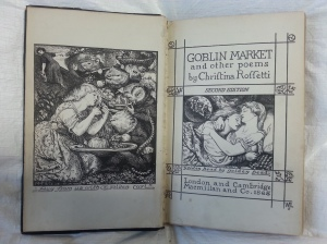 Titlepage & Frontispiece of Goblin Market by Christina Rossetti (Sp Coll 393).