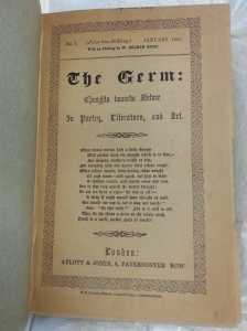 Title page of the first issue of The Germ, January, 1850 (Sp Coll Be1-y.23)