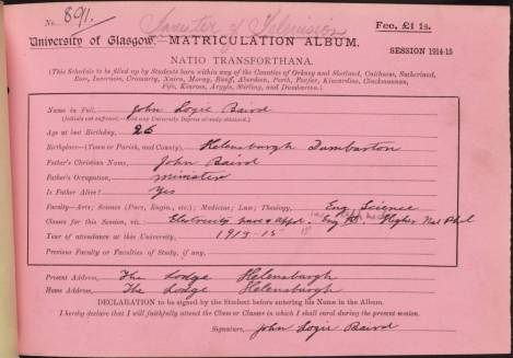 John Logie Baird's Matriculation slip for the session 1914-15 (R8/5/35/1)