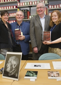 James McGonigal and John Coyle, with Sam Maddra (Project Archivist) and Sarah Hepworth (Deputy, Special Collections).