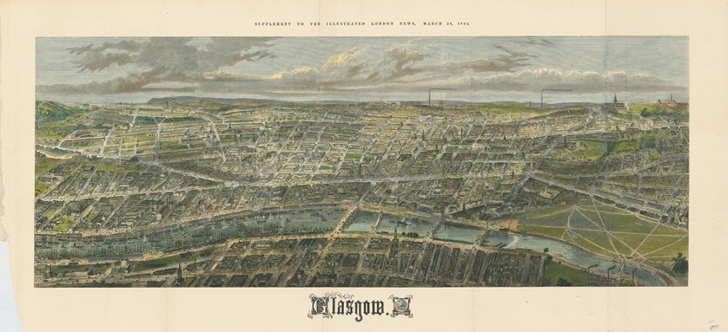 Bird's Eye View of Glasgow 1864