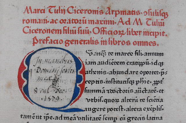 Heading printed in red from 1465 Cicero