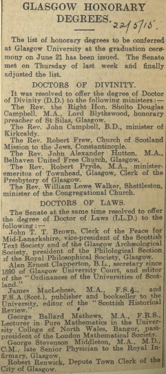 Press-clipping of Honorary Graduates in 1915 (IP6/1/19)