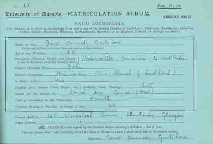 Matriculation slip for Janet Kennedy Gartshore (R8/5/35/9)