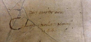 "Ownership inscription of ""Claudius Nicolaus"" dated 1544 with his motto ""Deus adjutor meus"" (ie God is my helper) (Sp Coll Bi6-a.5)"