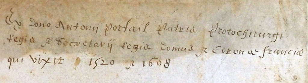 Note in the hand of Paul Portail recording his father Antoine's previous ownership (Sp Coll Hunterian Z.1.8)