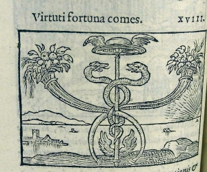 Virtuti fortuna comes (or Good fortune attendant on virtue). A herald's staff, attribute of Mercury, god of eloquence, intellectual pursuits and financial success. From new acqusition S.M. Add. 468.