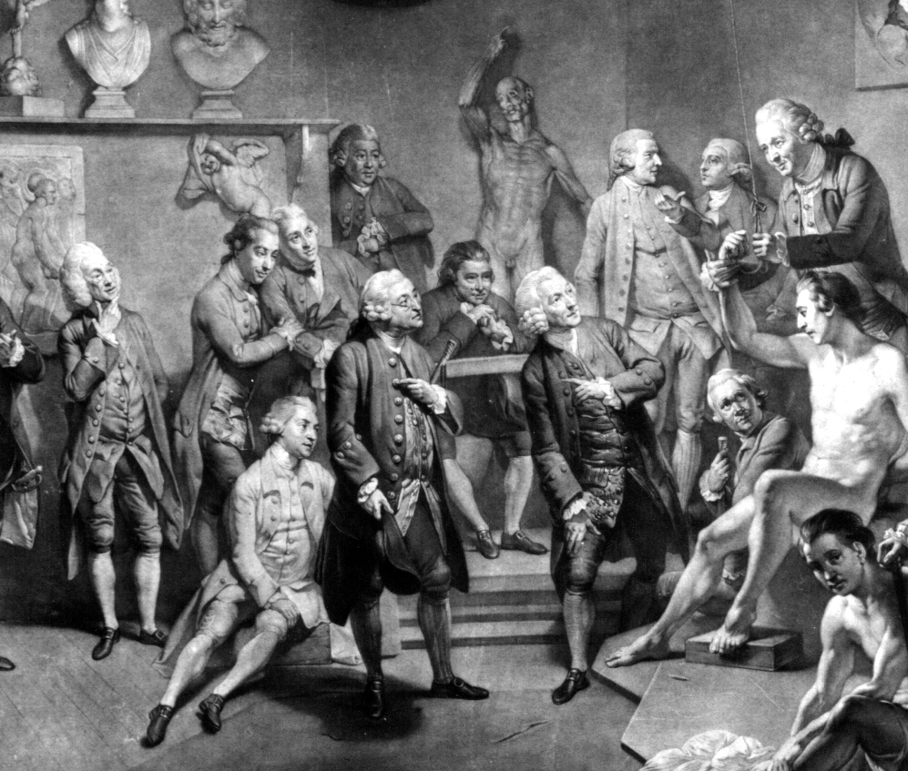 """""""The Royal Academy of Arts Instituted by The King In The Year 1768"""" (1773) Detail of engraving by Earldom after Zoffany. Notice Hunter standing to the right of centre ensuring the model is being correctly posed. Hunterian Museum & Art Gallery collections GLAHA 17442"""