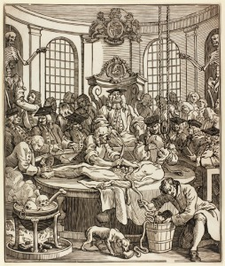 """A criminal is dissected. """"The reward of cruelty"""" (1750) by John Bell after William Hogarth. Hunterian Museum & Art Gallery collections GLAHA 54344"""