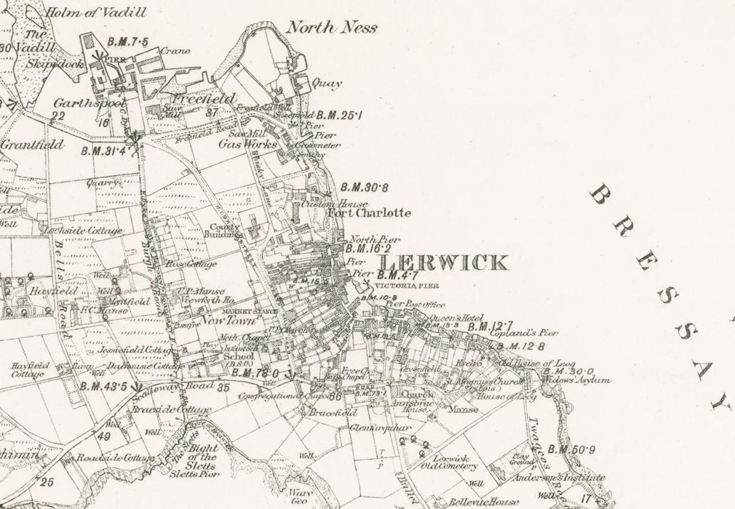 1882 1st edition Shetland Sheet 53: Lerwick extract