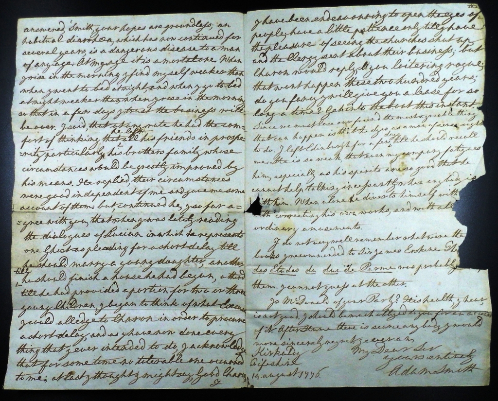 Letter to Alexander Wedderburn from Adam Smith, Kirkcaldy: 14 August 1776. (MS Gen. 510/47)