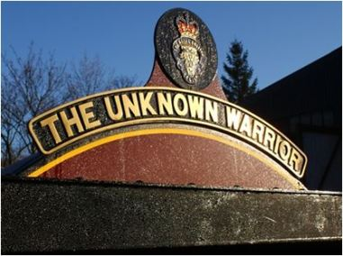 Figure 1 The Unknown Warrior's frost covered nameplate catches the sun outside Llangollen shed. 3rd December 2014, Photo – Kevin West, http://www.lms-patriot.org.uk/engineering