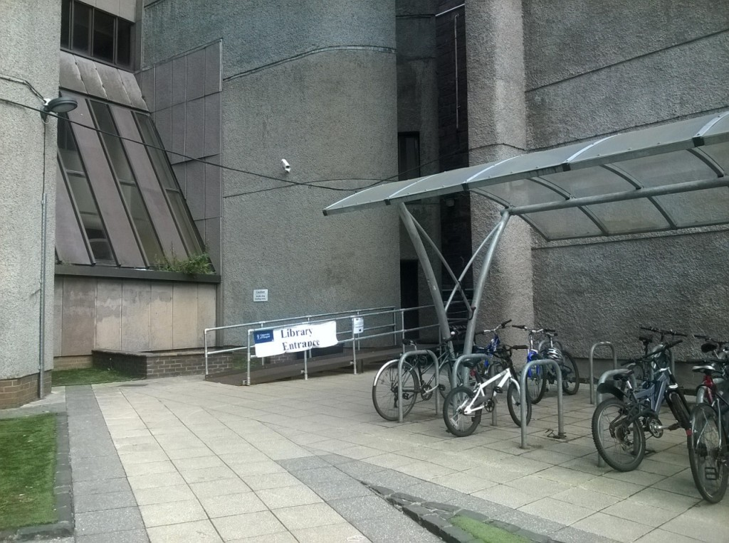 The temporary entrance to the library