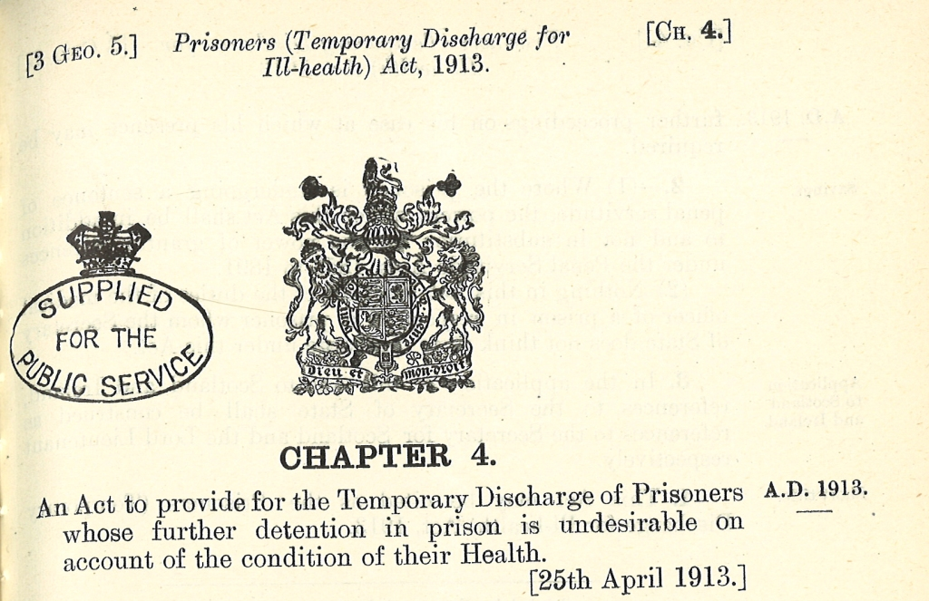 Prisoners (Temporary Discharge for Ill-health) Act, 1913 Chapter4
