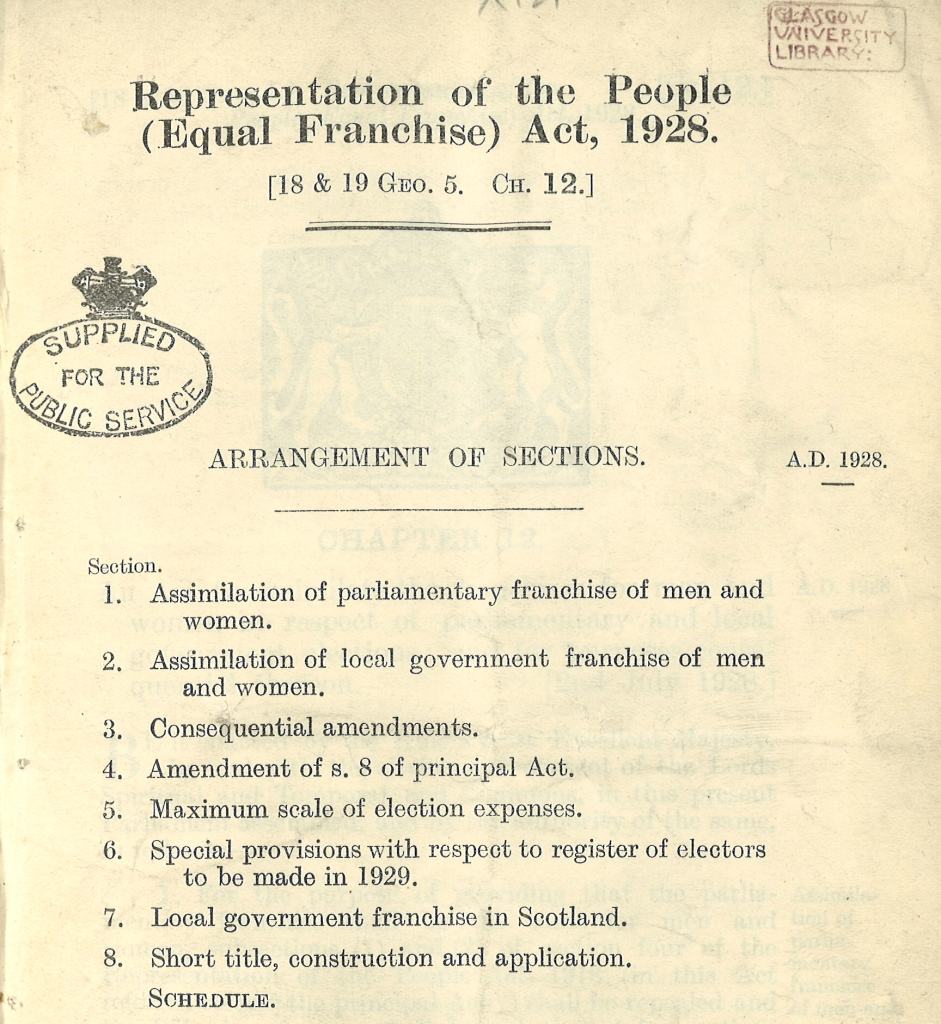 1928 Representation of the People (Equal Franchise) Act
