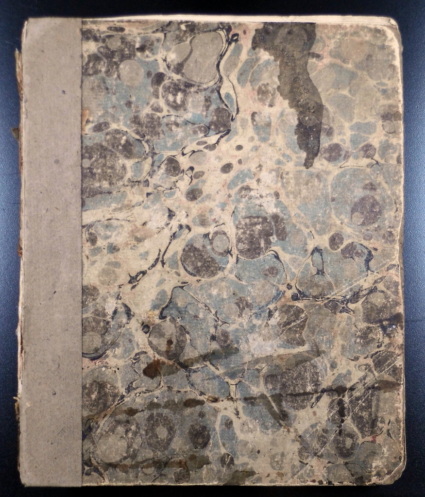 Marbled paper binding of Shaw's catalogue (Sp Coll Hunterian K.5.22)