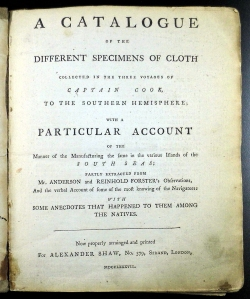 Titlepage of Shaw's catalogue (Sp Coll Hunterian K.5.22)