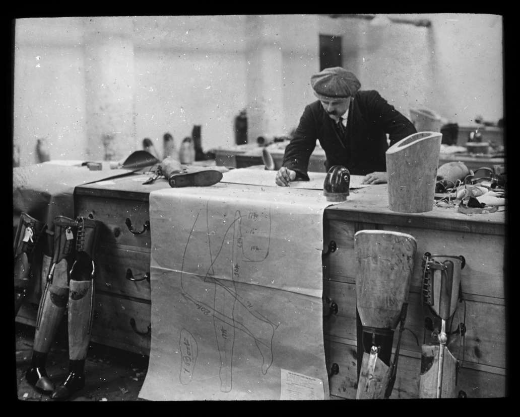 Designer working in a limb workshop, 1916