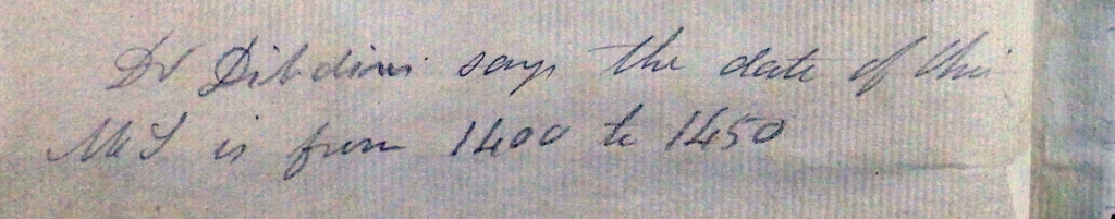 Pencil note on dating of the manuscript