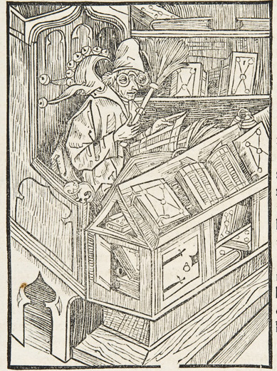 The 'bookfool' by Albrecht Dürer in Sebastian Brant's 'Das Narrenschiff' (Sp Coll BD16-e.4)