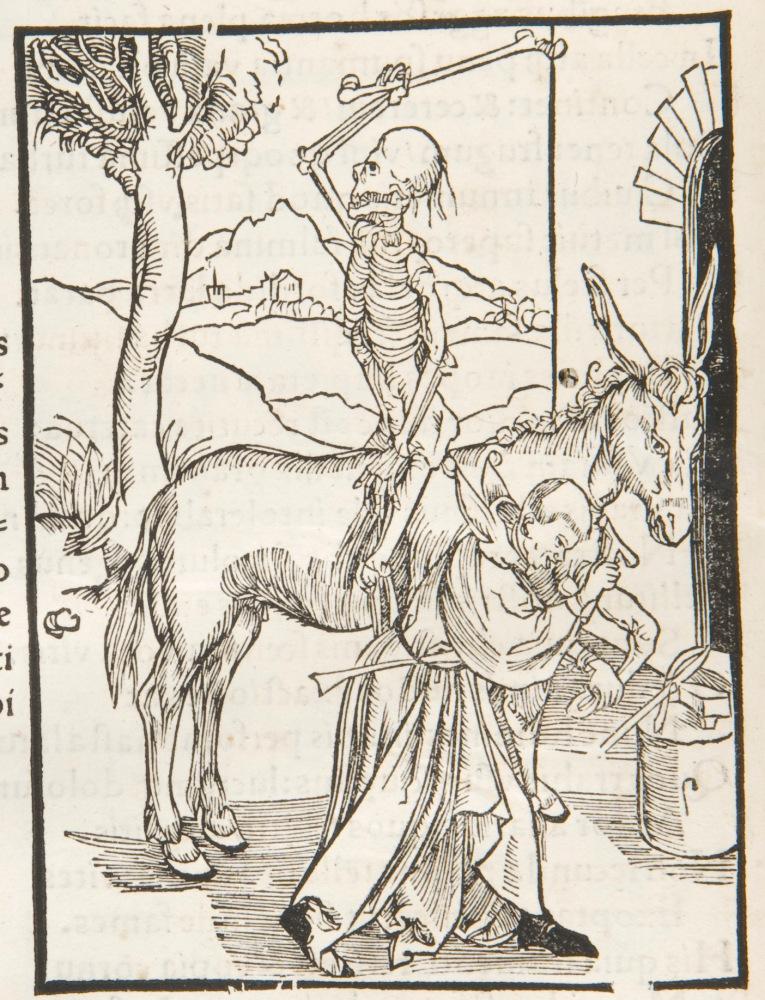 Death on a donkey woodcut (page n8v) in Brant, Sebastian: Das Narrenschiff [Latin]. 1498. Sp Coll Hunterian Bw.3.9.