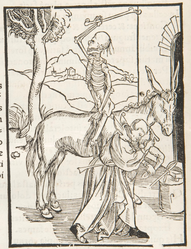 Death on a donkey woodcut (page n8v) in Brant, Sebastian: Das Narrenschiff [Latin]. 1498. Sp Coll Hunterian Bw.3.9.