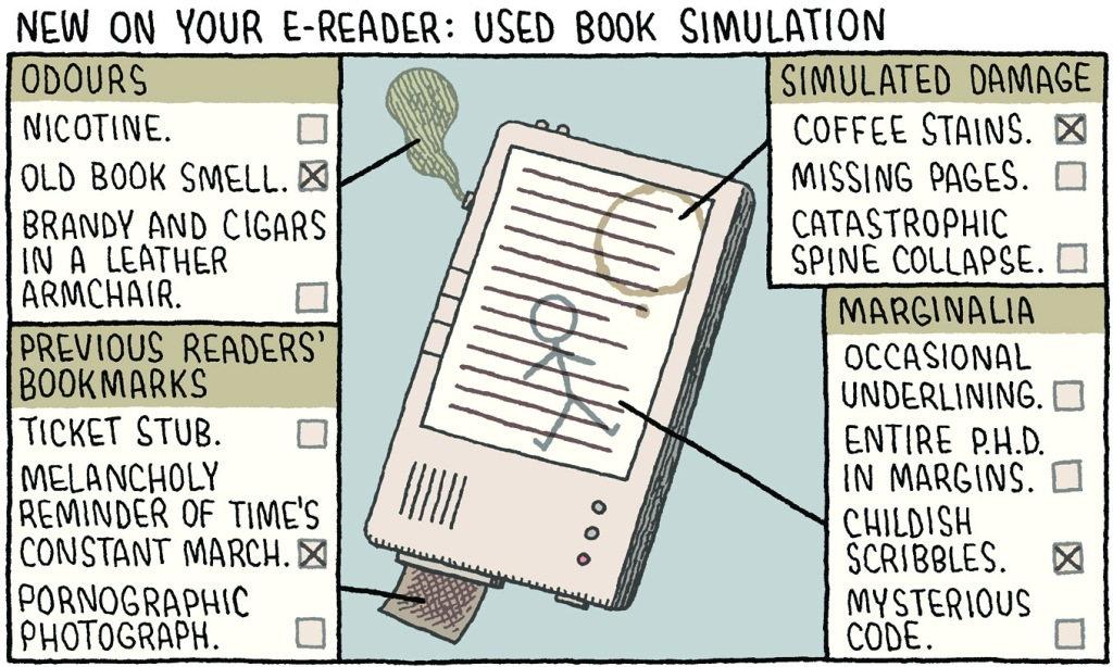 New on your e-reader: used book simulation by Tom Gauld. With kind permission of Tom Gauld
