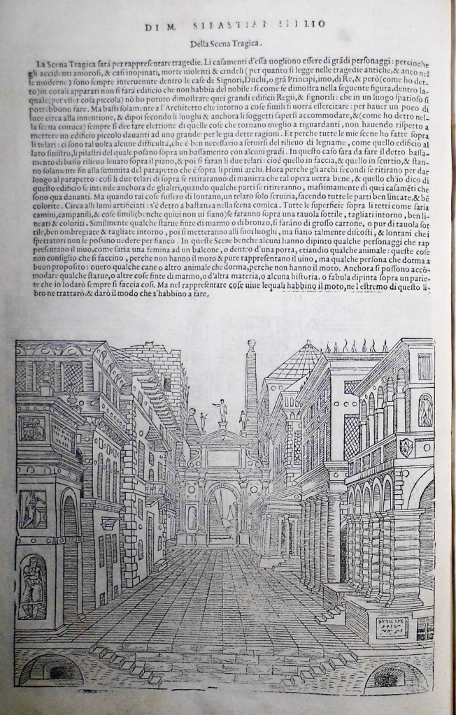 Serlio, Scena Tragica, woodcut from Book II, Architettura, fol. 16v (Sp Coll S.M. 1971)