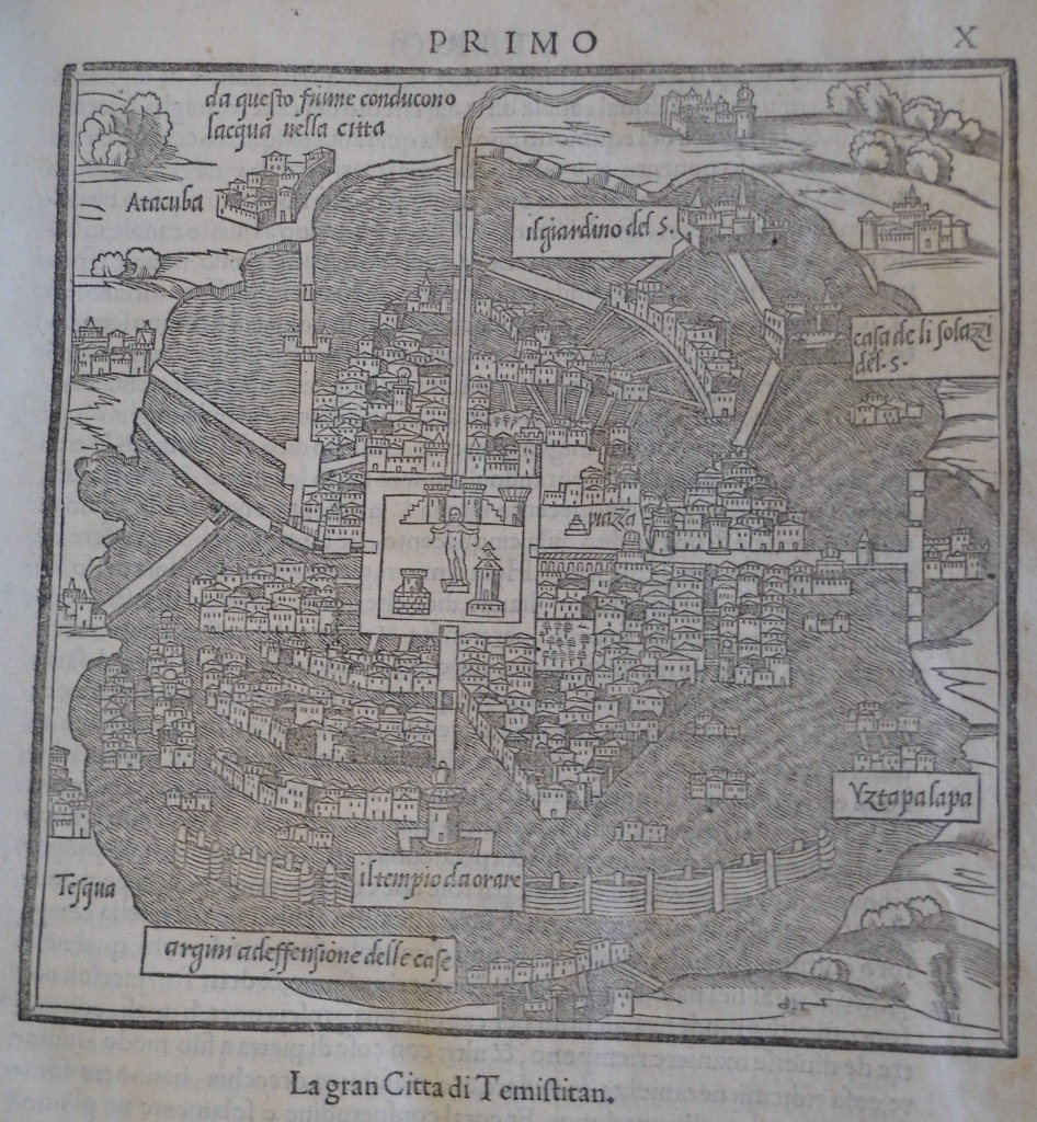 "Woodcut of ""Temistitan"" (i.e. Tenochtitlan, the Aztec capital) in Bordone's ""Isolario"", 1547. Sp Coll BC14-y.5"
