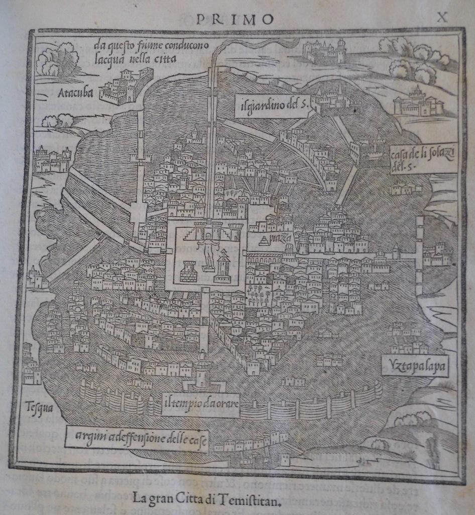 """Woodcut of """"Temistitan"""" (i.e. Tenochtitlan, the Aztec capital) in Bordone's """"Isolario"""", 1547. Sp Coll BC14-y.5"""