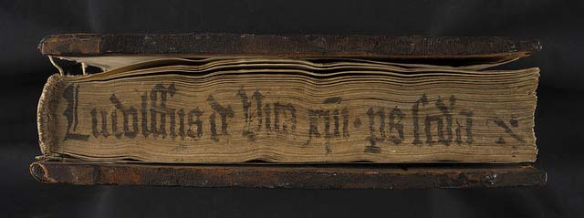 Title written on lower edge - further evidence of different storage conditions for early books: Ludolphus de Saxonia: Vita Christi. Sp Coll T.C. L. f11.