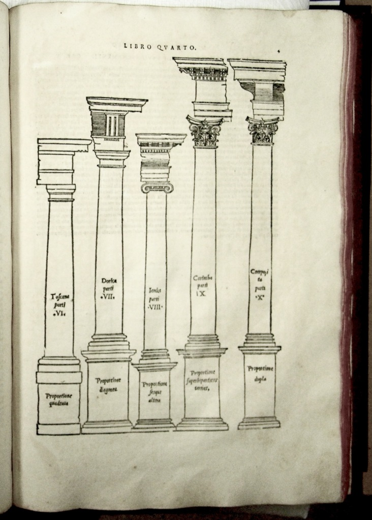 The five Orders according to Serlio. From left to right: Tuscan, Doric, Ionic, Corinthian and Composite, from Book IV, Architettura (Sp Coll S.M. 1971)