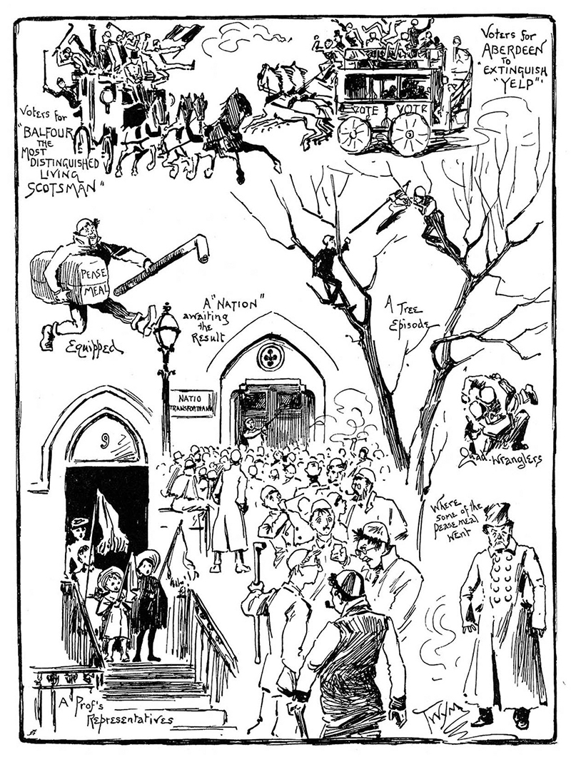 5  Cartoon by Twym showing the Rectorial Campaign in 1905