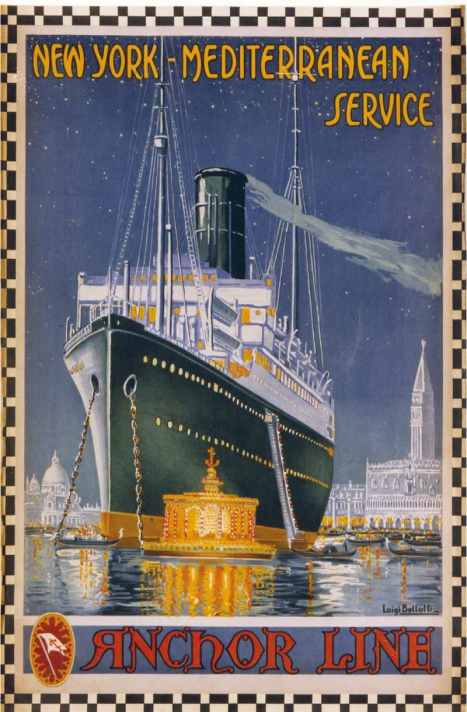 An Anchor Line poster for its transatlantic and Mediterranean service. In 1856 it ran its first transatlantic crossing and by the twentieth century it also offered Mediterranean cruises and passenger sailings to India and Pakistan.