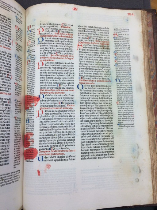"Rubrication gone wrong in Gratianus: ""Decretum"" published 1474. (Sp Coll Hunterian Bw.1.12)"