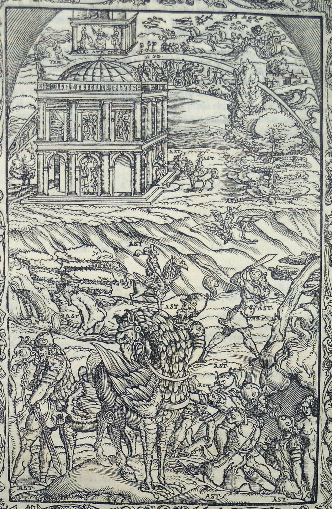 In the foreground, right, Astolfo meets Lidia at the entrance to hell; at the top of the image, Astolfo sets off for the moon in a chariot. Woodcut for canto 34 (Sp Coll q2)