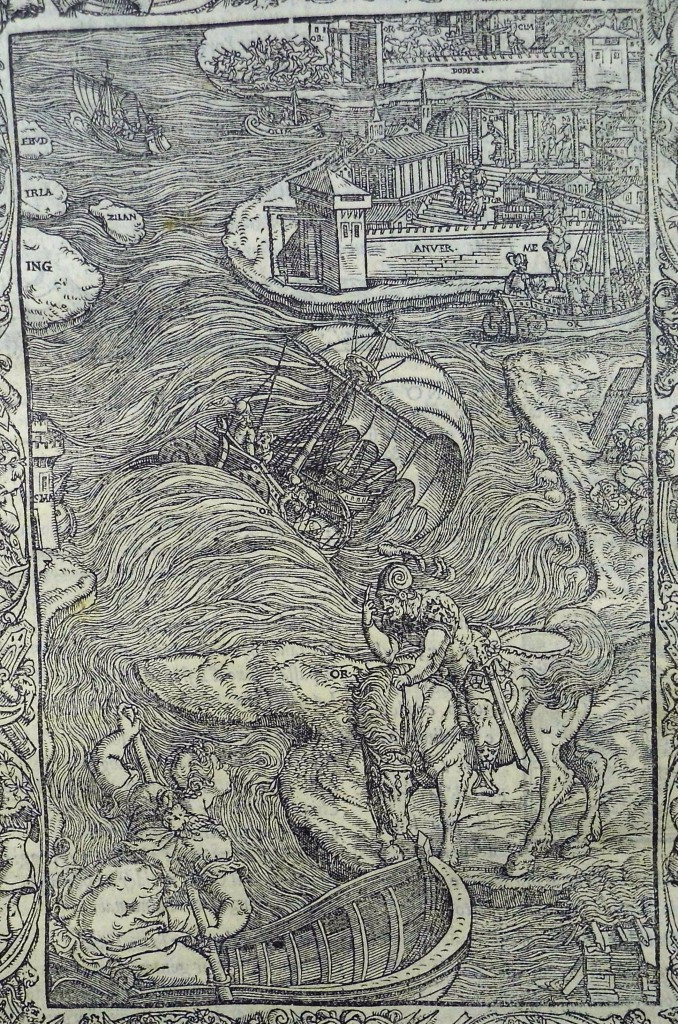Orlando is blown off course by a hurricane to where he will meet Olympia. Woodcut for Canto 9. (Sp Coll q2)