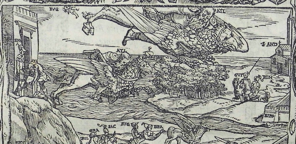 Hippogriffs in flight, with St Andrews, home of the Scottish court and Ginevra beneath. Detail from woodcut for canto 4 (Sp Coll q2)