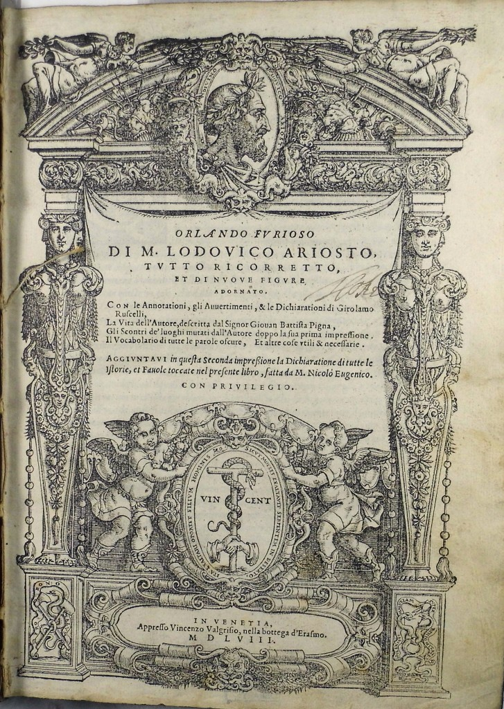 "Titlepage of the 1558 Furioso, with early (17th century?) autograph ""T.(?) Coke"". (Sp Coll q2)"
